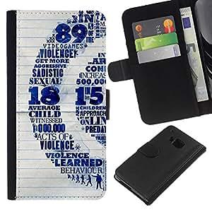 KingStore / Leather Etui en cuir / HTC One M7 / Violencia Infantil Quote Sexo Vide Juegos de Arte