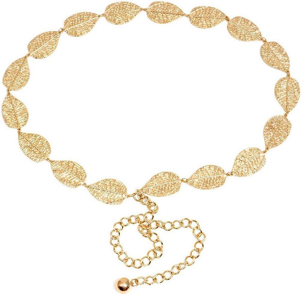 LUOEM Cadena de cintura de hojas de metal para decoración de vestidos (dorado)