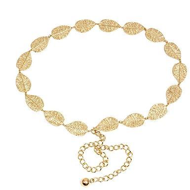 9d088bff2987 LUOEM Femmes feuille taille ceinture chaîne laisse ceinture taille sangle ceinture  pour la décoration de la