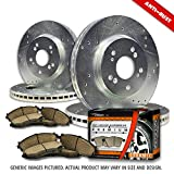 "Heavy Duty-(Front+Rear Rotors + Ceramic Pads)-Silver Zinc Drill-(Fits:-1999 99 Ford F-250 Super Duty 4WD Models w/ 13.03"" Diameter Front Rotors After 03/22/1999)"