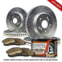 (Front+Rear Rotors + Ceramic Pads)-Silver Zinc Drill-(Fits:-2008 08 2009 09 2010 10 Dodge Grand Caravan)