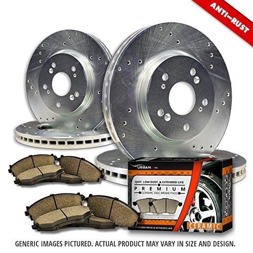 Cheap (F+R Full Kit)4 Zinc Plated Cross Drill Disc Brake Rotors + 8 Ceramic Pads(5lug)-Combo Brake Kit