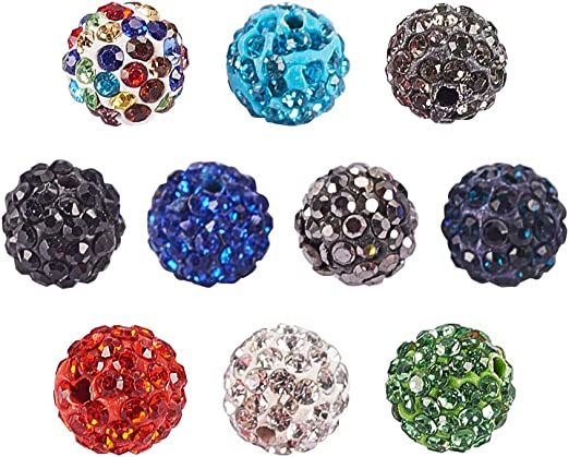 50//100Pc Mixed Czech Crystal Rhinestones Pave Clay Round Disco Ball Spacer Beads