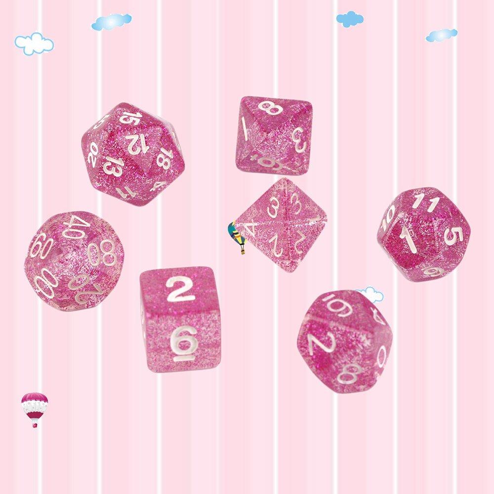Rosa Lila Oyamihin 7 Teile Satz Acryl Spiele Multi Seiten W/ürfel D4 D6 D8 D10 D12 D20 Gaming W/ürfel Glitter Design Spieleliebhaber