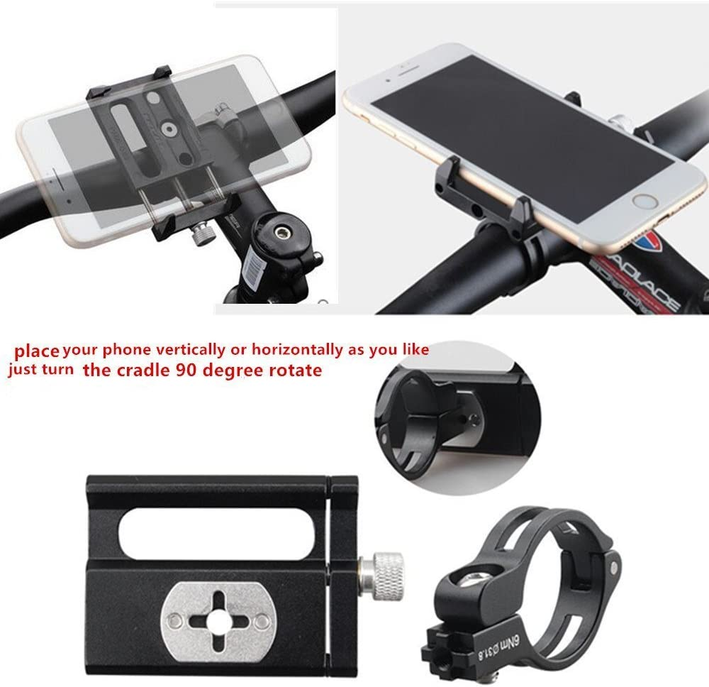 Aluminum Alloy Universal Bike Handlebar Phone Mount Holder Adjustable Fit for iPhone X XR Xs 7s 8 Plus,SamsungS7//S6//Note5//4 or Any Smartphone GPS 3.5-6.2 GUB Bicycle /& Motorcycle Phone Mount Black