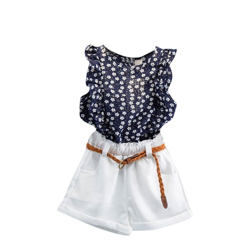 Toddler Baby Girls Kids Summer Clothes Outfit for 2-7 Years Old Mingfa 3PCS Floral T-Shirt Tops+Short Pants +Belt Set