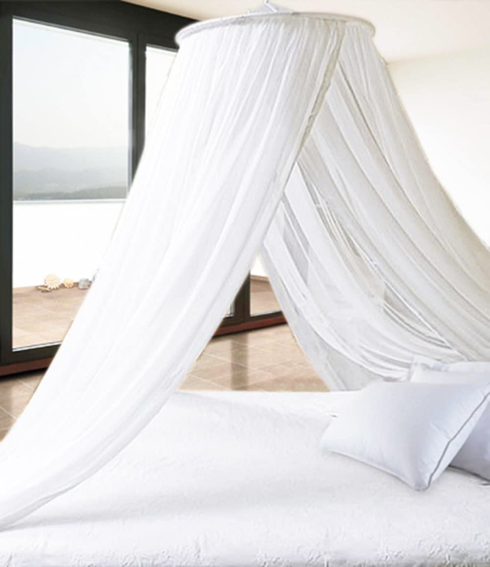 - Pure White Extra Thick Elegant Round Top Bed Canopy (Mosquito Net