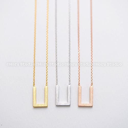 Amazon Com Geometric U Necklace Dainty Necklace Thin Chain For Layering V Necklace Geometric Jewelry Gold Silver Rose Gold Best Friends Nbb070 Handmade
