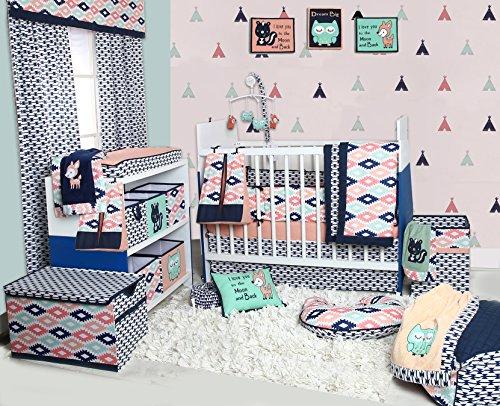 Bacati-Emma-Aztec-10-Piece-Nursery-in-a-Bag-Cotton-Percale-Girls-Crib-Bedding-Set-with-Bumper-Pad-CoralMintNavy