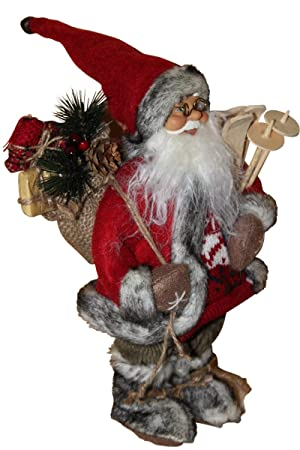 Garden Market Place Father Christmas Figure with Sledge-Rustic Style and 30cms Tall