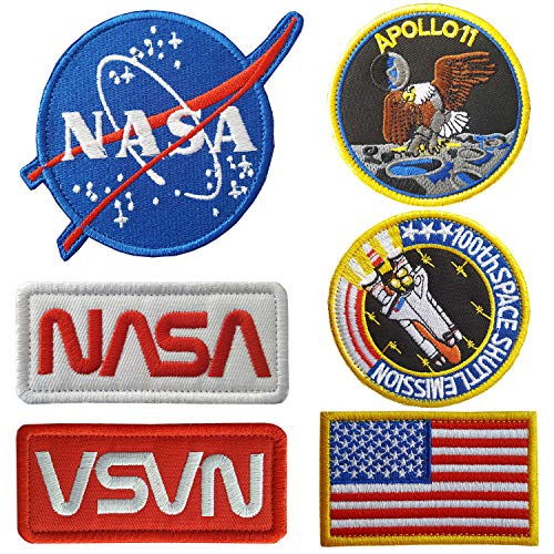 Lightbird NASA Patches 6 Pieces,Embroidered Iron On/Sew On Space Patches,US Flag Patch (Hook and Loop Backing) -