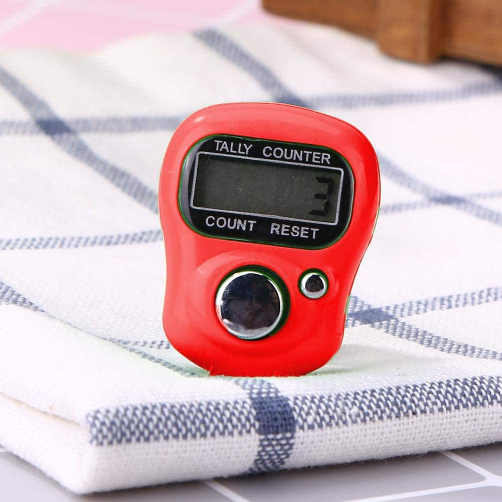 Riboaoy Mini Finger Counter LCD Electronic Digital Counter Range 0-99999 Red