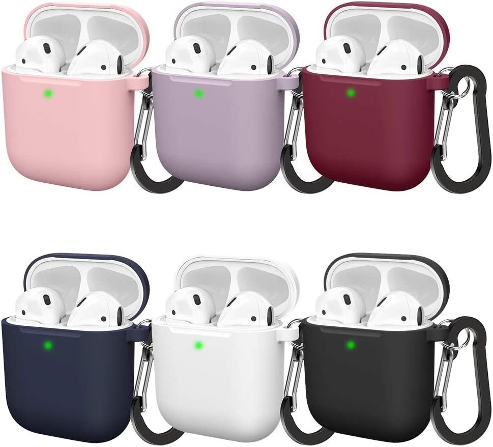 Multi Colors Vcegari Compatible with AirPods Case Front LED Visible 6 Pack Durable Anti-Dust Shock-Proof Silicone Protective Cover Skin for AirPods 2 AirPods 1 Charging Case with Firm Keychain