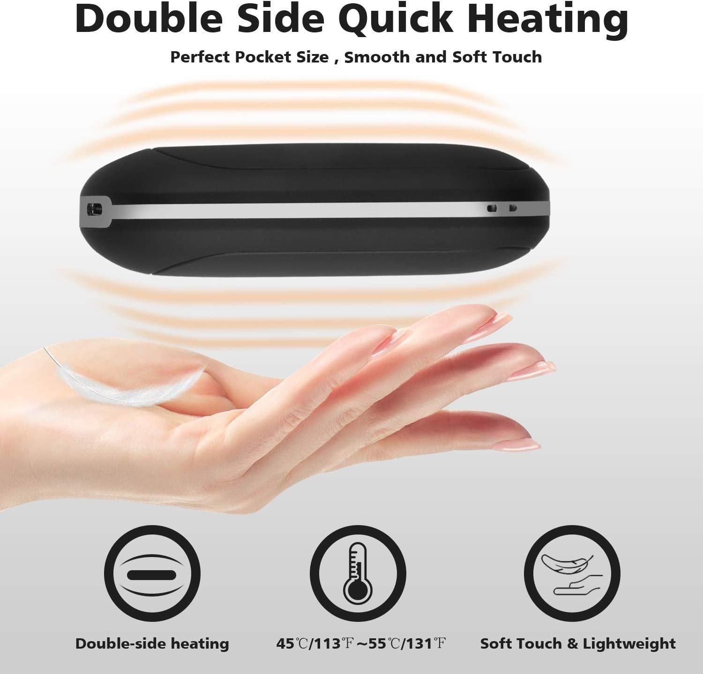YOOYEE Calentador de Manos Recargable Powerbank 5200mAh USB Calentador Manos de Bolsillo El/éctrico Calienta Manos Reutilizable Calentadores de Doble Cara Regalo de Mujeres 4 Niveles de Calor