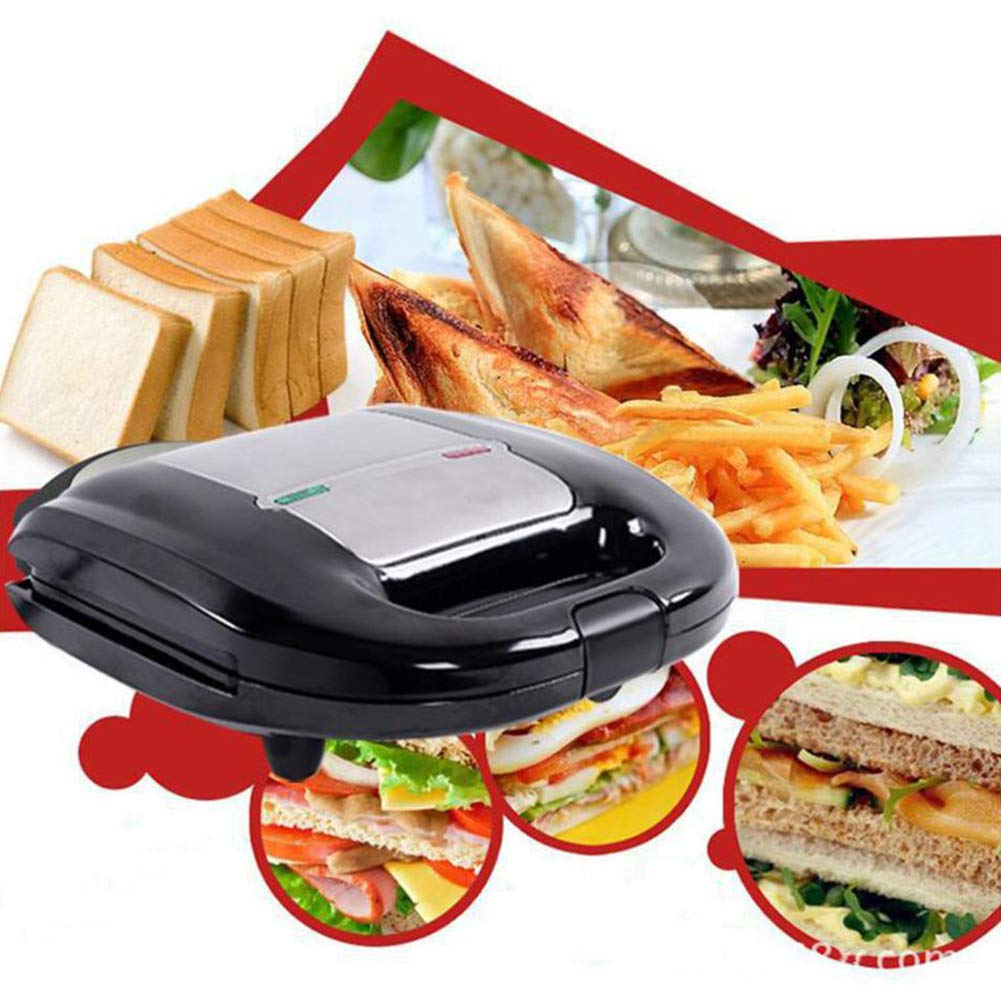Not-Slip Feet and Cool Touch Handle 750w,Toaster Toastie Machine-Black 24x23x8cm 2-Slice Sandwich Maker with Deep Fill Not-Stick Hot Plates 9x9x3inch