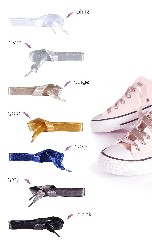 Kaps Satin Schnürsenkel – 1 Paar breite & flache Schuhbänder für zB Sneaker & Sportschuhe in Premiumqualität – hochwertige Flachsenkel & Schuhsenkel