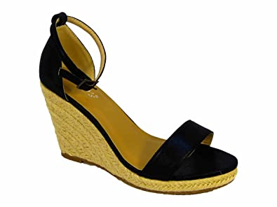 b8dd14678a3 Ladies Canvas Rope Wedge Espadrilles Platform Ankle Buckle Shoes Sandals  Size: Amazon.co.uk: Shoes & Bags