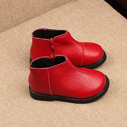 Color De Niños Grueso Cuero Niñas Y Más Invierno Sólido Cálido Yanhoo Terciopelo Para La Zapatos Cortas Botas Rojo Nieve IxqIHYAw