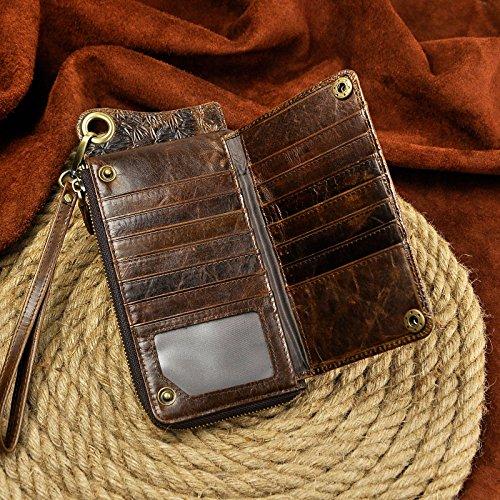 Le'aokuu Cartera de moda para hombre monedero de piel auténtica Billetera plegable de la carpeta (Gris dragón) Dragón Café