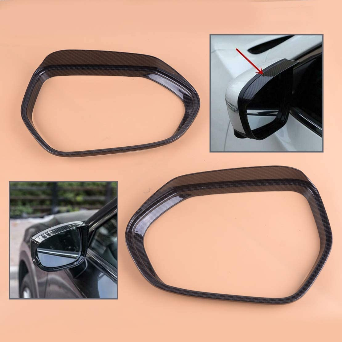 BAIJIAXIUSHANG-TIES Valves Fittings 2pcs ABS Car Side Rearview Mirror Rain Eyebrow Cover Trim Cup Shell Frame for Toyota Corolla Hatchback 2019