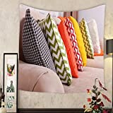 Jacquelyn A. Velasquez Custom tapestry sofa with colorful pillows in room