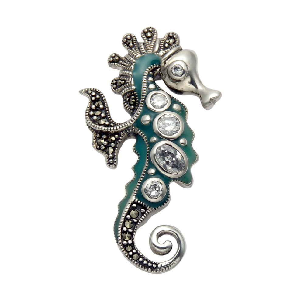Sterling Silver Marcasite Seahorse Brooch with Blue-Green Enamel and Faceted Crystals