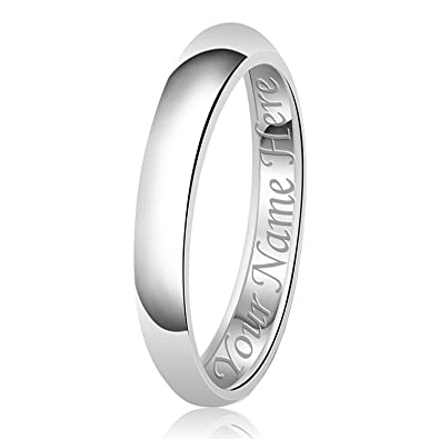 3mm Personalized Name Engraving Classic Sterling Silver Plain Wedding Band Ring Size 4