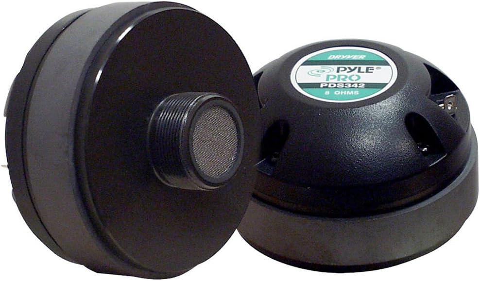 1.35 Inch Tweeter Horn Driver - 400 Watt High Power Car Audio Speaker System w/ Flat Aluminum Voice Coil, Titanium Diaphragm, 1kHz-20 kHz Frequency, 104 dB, 8Ohm, Heavy Duty 20 oz Magnet - Pyle PDS342