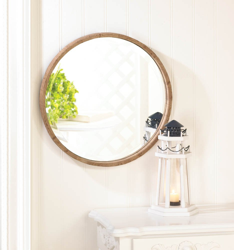Wood Frame Round Wall Mirror by Accent Plus (Image #2)
