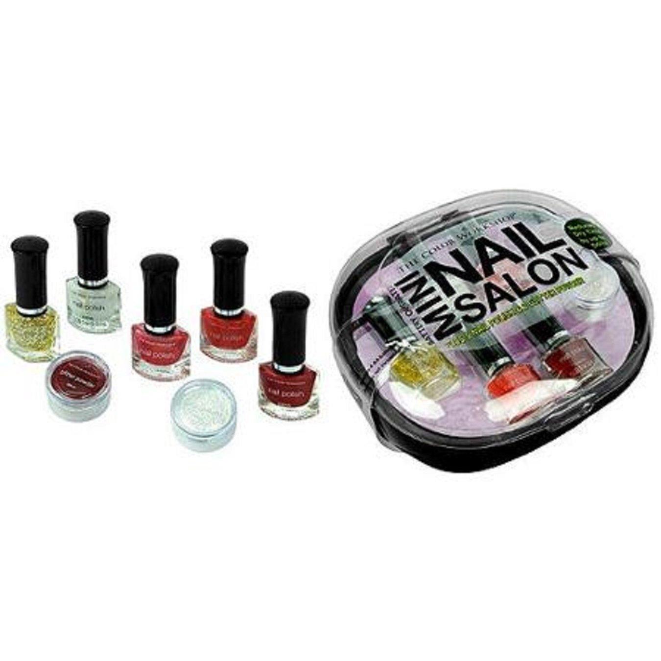 Amazon.com : The Color Workshop Mini Nail Salon Kit, Black, 8 Pc ...