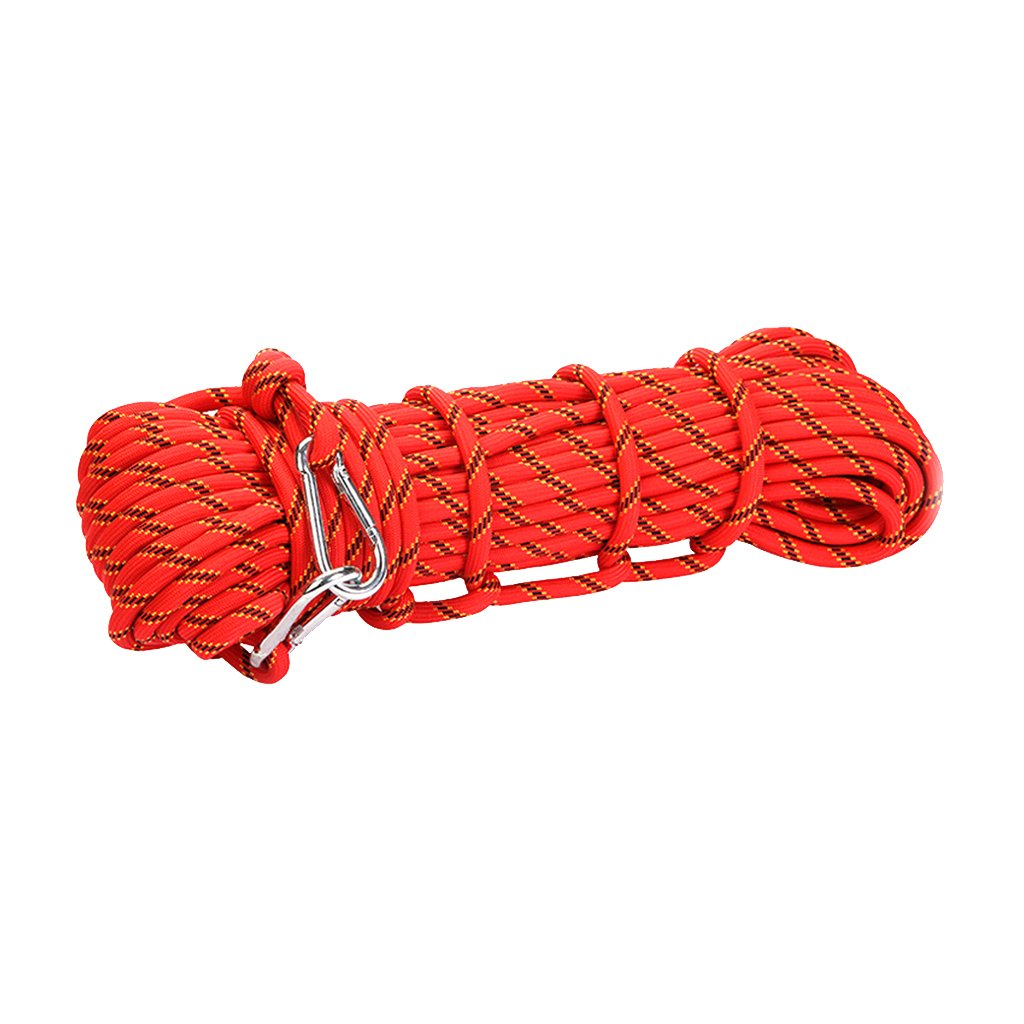 10m x 10mm Mountaineering Climbing Utility Rope Red Generic