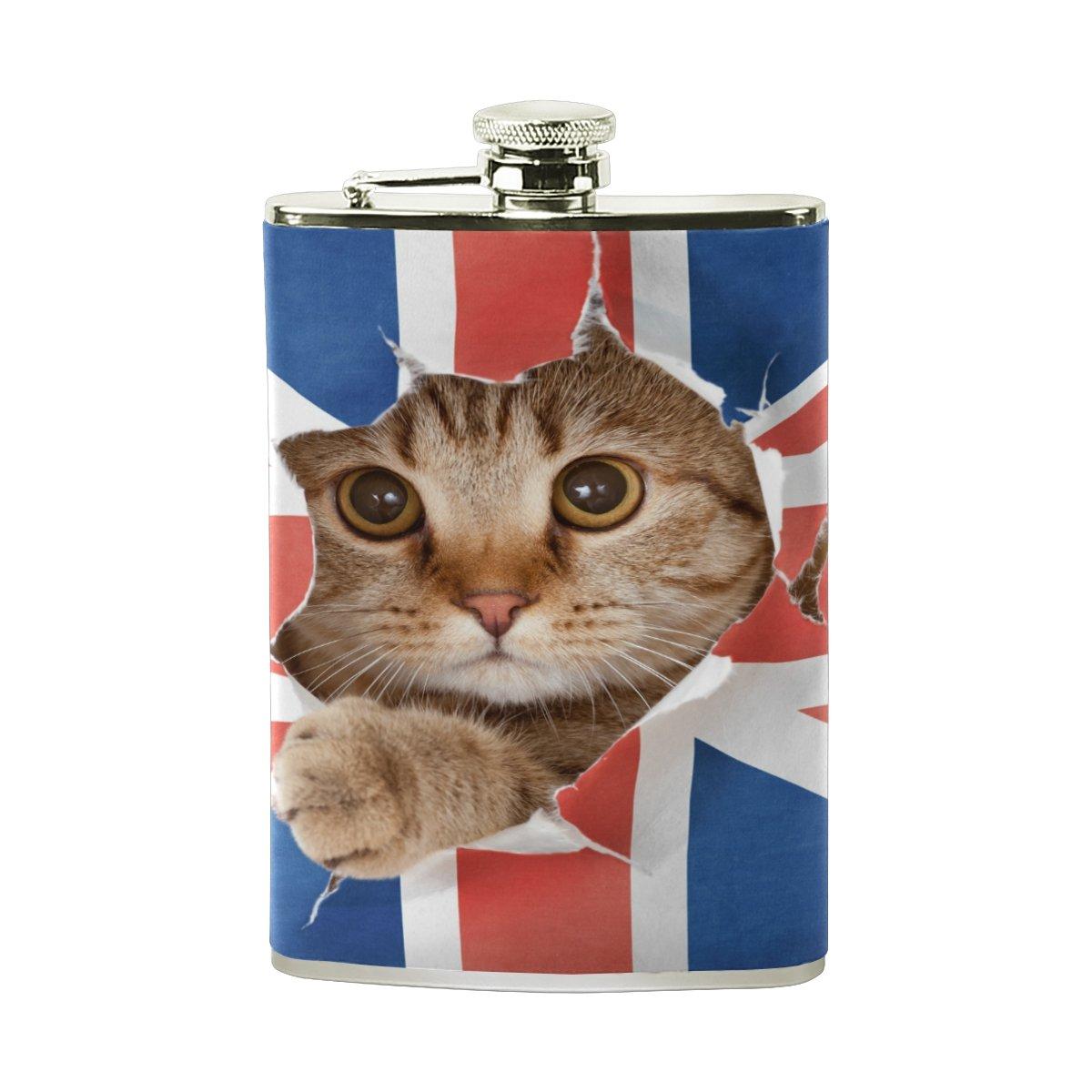 注目 Alaza Cat Cat Onユニオンジャックフラグ8オンスステンレススチールヒップフラスコPUレザーWrappedカバーHeavy Whiskey Vidkaラム DutyポケットショットのフラスコLiquor Whiskey Vidkaラム B075YT2CXD, milimili:64eb2d65 --- a0267596.xsph.ru