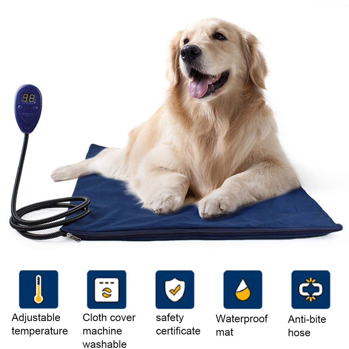 Nestling/® 65*40 CM 30W pet heating pad safe insulation pad removable and washable soft velvet fabric chewy steel wire adjustable temperature medium small large cat and dog constant heating