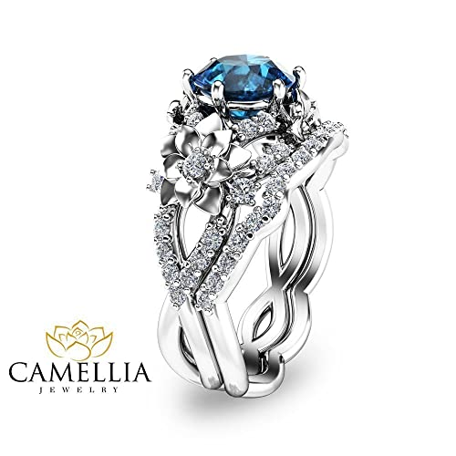 london blue topaz bridal set in 14k white gold floral design wedding ring set - Blue Topaz Wedding Rings