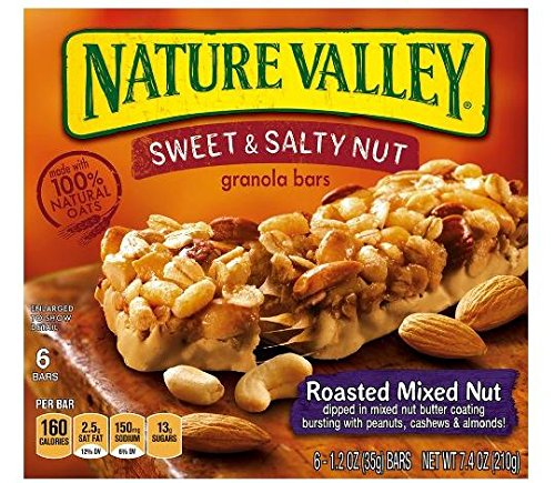 Roasted Sweet Fruit (Nature Valley, Sweet and Salty Nut Granola Bars, Roasted Mixed Nut, 6-Count, 7.4 oz Box (Pack of 4))