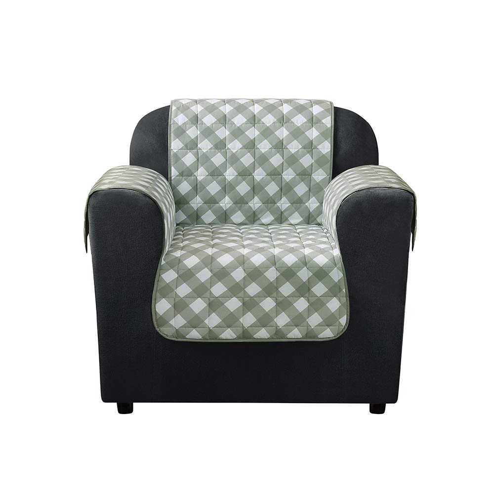 Outstanding Surefit Furniture Flair Chair Slipcover Gingham Plaid Andrewgaddart Wooden Chair Designs For Living Room Andrewgaddartcom