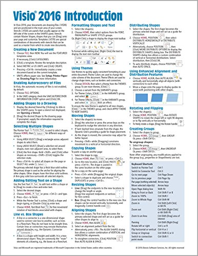 Microsoft Visio 2016 Introduction Quick Reference Guide   Windows Version  Cheat Sheet Of Instructions  Tips   Shortcuts   Laminated Card