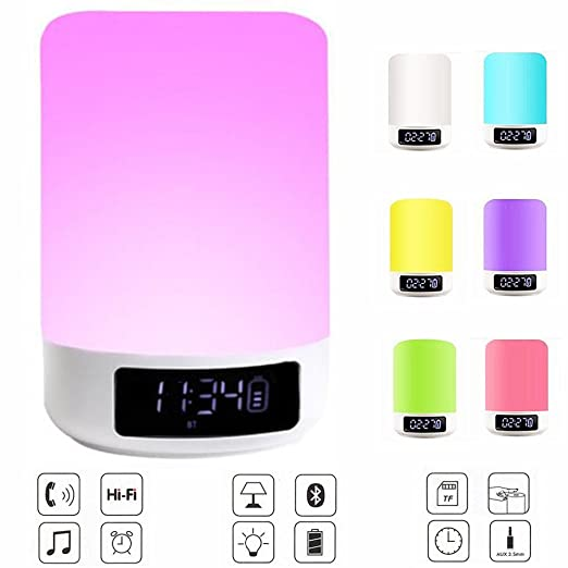 Elecstars Bedside Lamp with Bluetooth Speaker, Touch Control Night ...