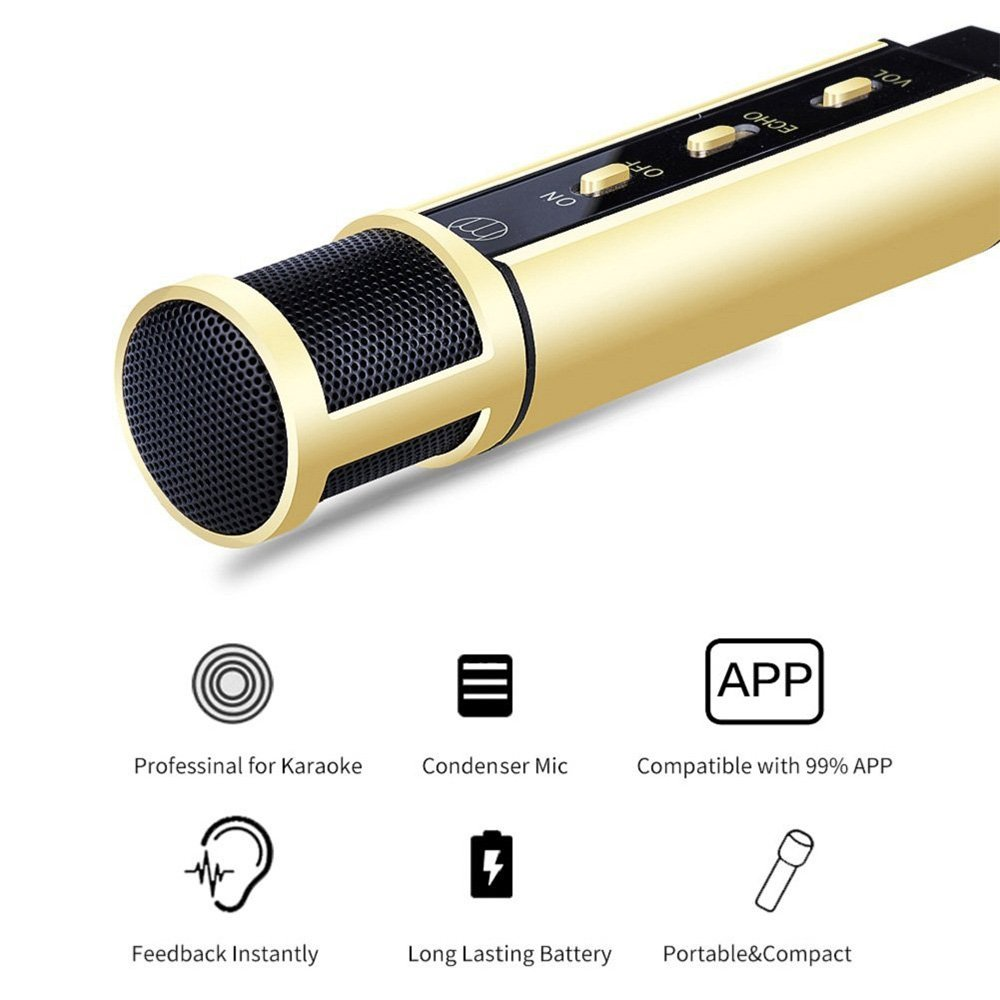 HMR Mini Condenser Microphone for iPhone Karaoke Mobile Phone Karaoke Machine for Singing App Smule Yokee StarMaker Noise Reduction Echo Recording Microphone K08 (Gold)
