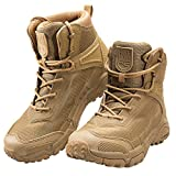 FREE SOLDIER Men's Tactical Boots 6'' inch Lightweight Combat Boots Durable Hiking Boots Military Desert Boots (Tan, 10 US)
