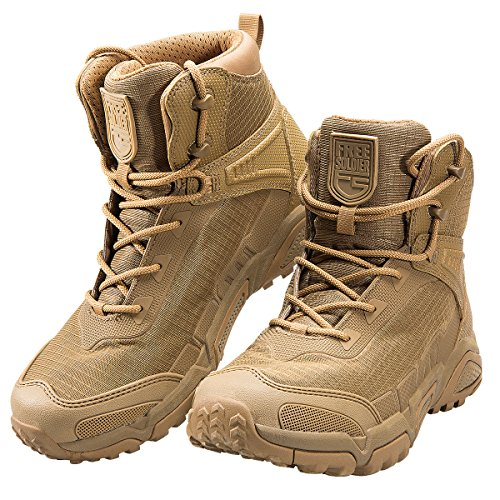 FREE SOLDIER Men's Tactical Boots 6 Inches Lightweight Combat Boots Durable Hiking Boots Military Desert Boots (Tan, 11 US) (Best Comfortable Hiking Boots)