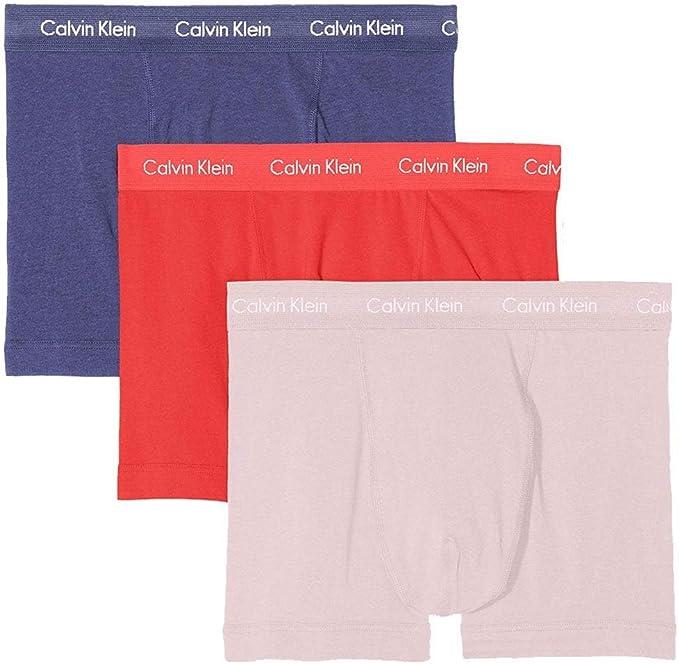 Calvin Klein Algodón Estiramiento 3 Paquete Trunk, Ballena Azul/Flor Salvaje/Bubblegum: Amazon.es: Ropa y accesorios