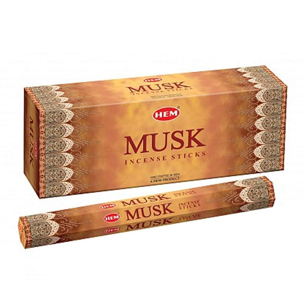 Musk - Box of Six 20 Stick Hex Tubes - HEM Incense Hand Rolled In India USA