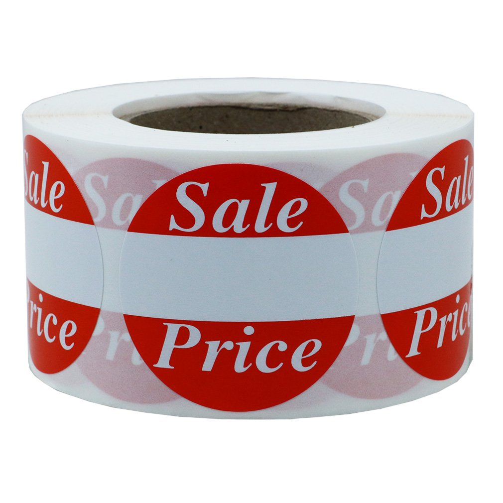 Hybsk Red'Sale Price' Labels Stickers 1.5 Inch Total 500 Labels Per Roll