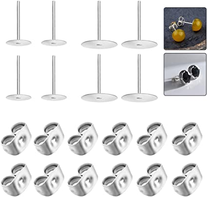 50PCS Earring Back Backing Silver plated for post stud-Earrings Finding