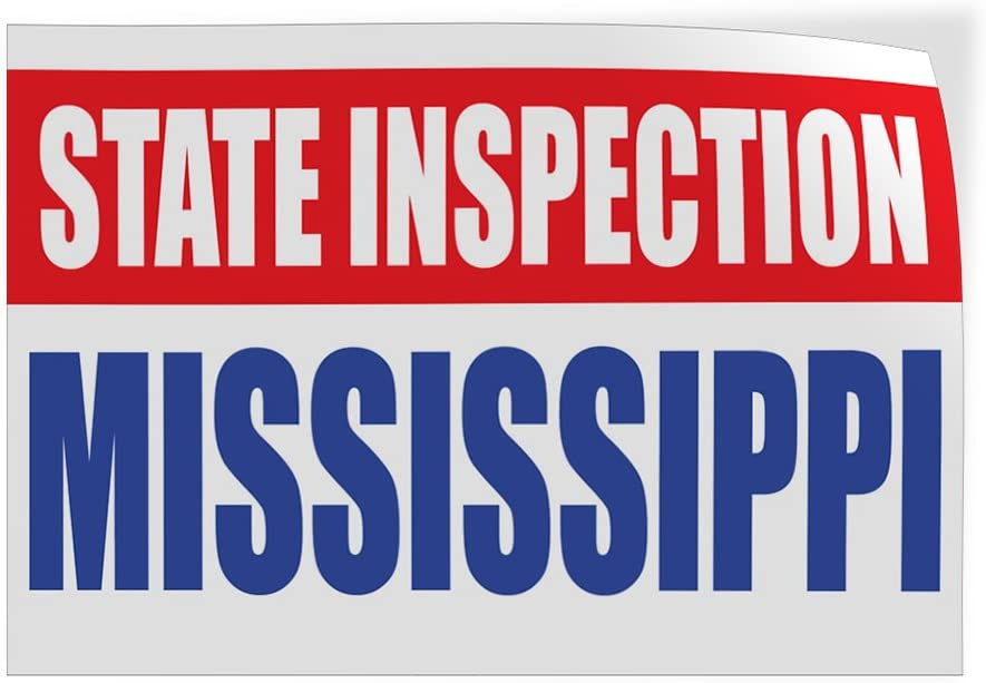 58inx38in Set of 2 Decal Sticker Multiple Sizes State Inspection Mississippi Business State Inspection Mississippi Outdoor Store Sign White