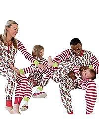 Pollyhb Christmas Family Xmas Pajamas Women Kids Man Sleepwear Nightwear Baby Romper