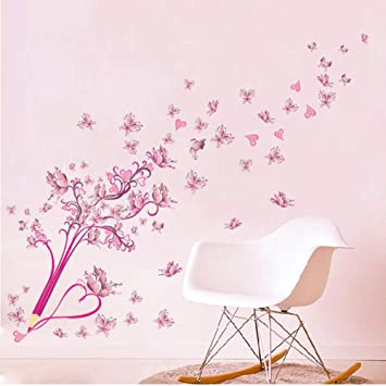 Amazon Com Wangxj Pink Butterfly Pencil Wall Stickers Living Room Bedroom Cloakroom Wall Decor Eco Friendly Art Wall Decals Wallpaper Poster Baby