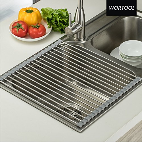 Roll- Up Dish Drying Rack. WORTOOL - Over the Sink Multipurp