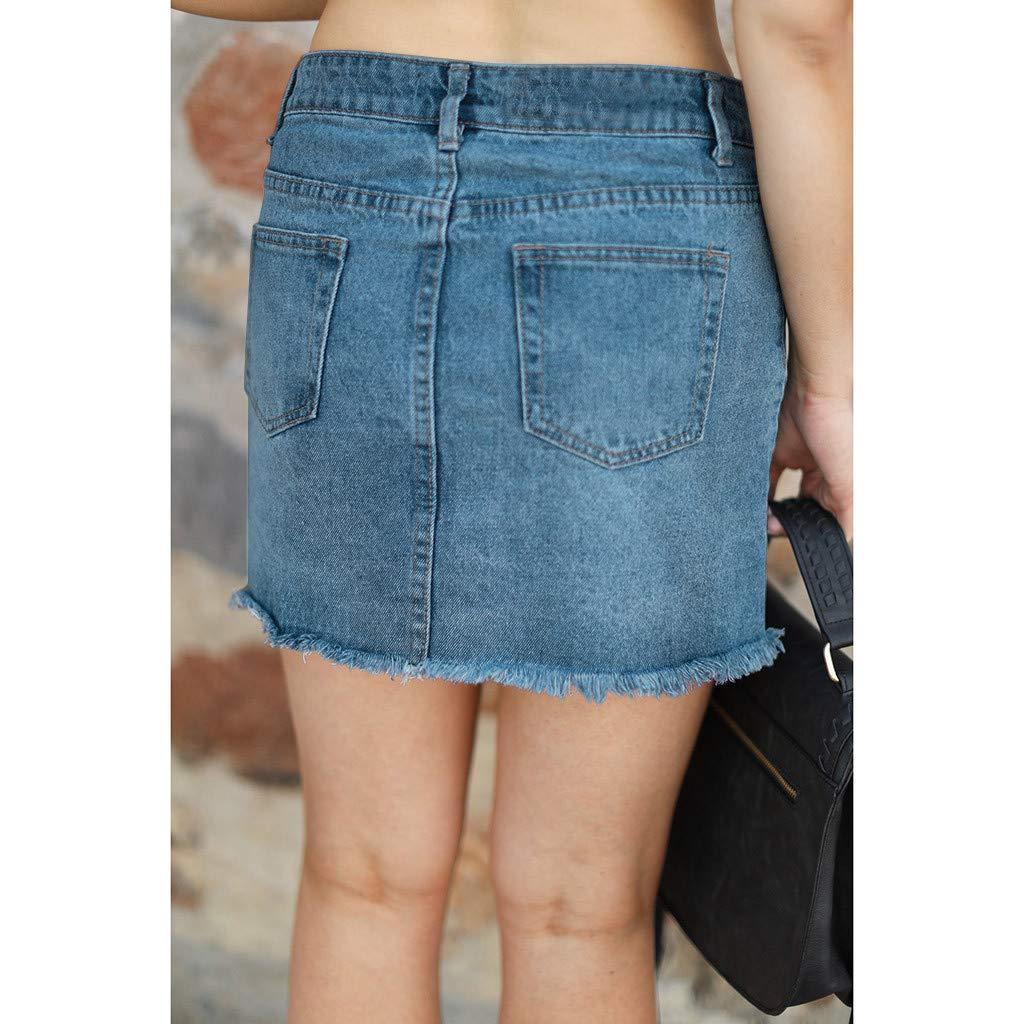 Pervobs Women Fashion Modern Denim Skirt Button Zipper Fly Open Boot Cut Mini Skirt Shorts with Pockets(2XL, Blue) by Pervobs Women Pants (Image #4)